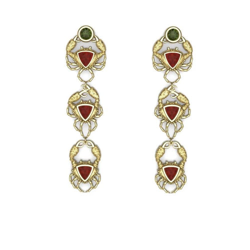 Crabs Earrings by Lisa Lesunja, Yellow Gold 750 18K with 2 Green Brilliant Cut Tourmaline 1.72ct. and 6 Trillion Cut Fire Opal 3.58ct. (7579)