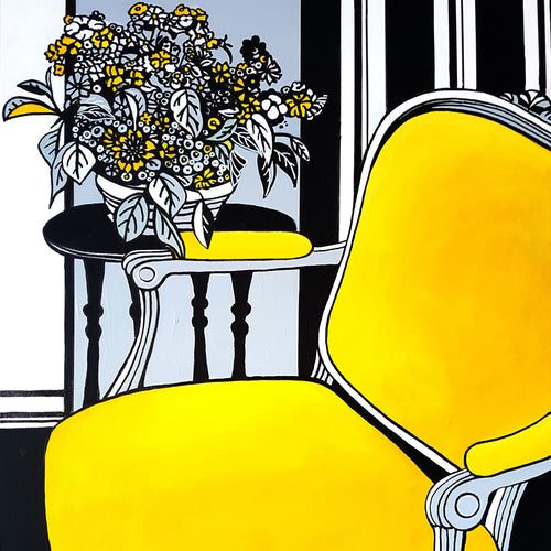 The Yellow Chair by Brigitte Thonhauser-Merk, Acrylic on Canvas