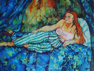Me, Blue Room by Elizabeth Smith, Pastels on Paper