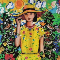The Girl in the Yellow Hat by T. White, Mixed Media on Wood Panel