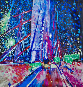 """Kosciuszko Bridge"" By Jali Taccone, Oil on Canvas"