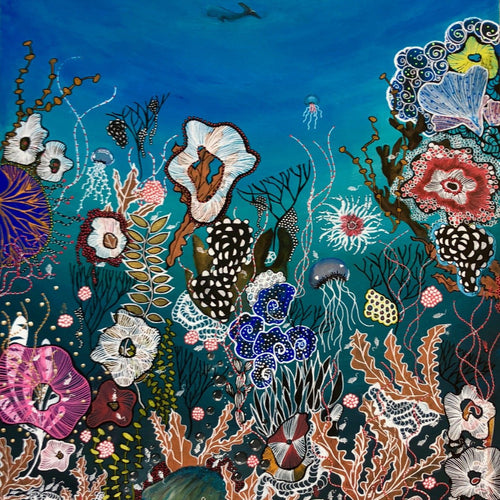 Deep Sea Paradise by Veronica Wong, Mixed Media on Canvas (Framed)
