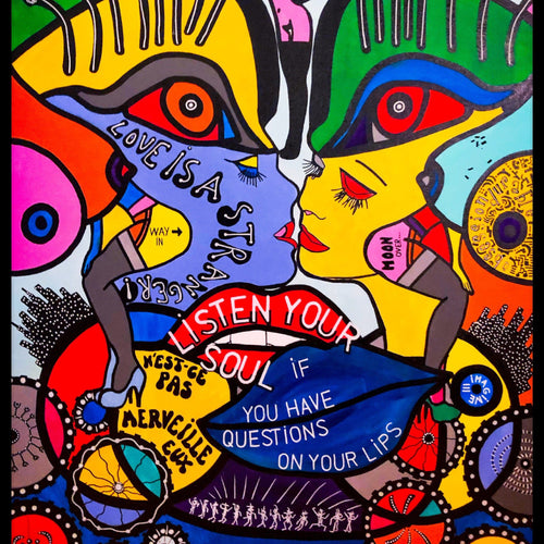 Listen To Your Soul By Reyol Enjoy , Acrylic and Ink On Canvas
