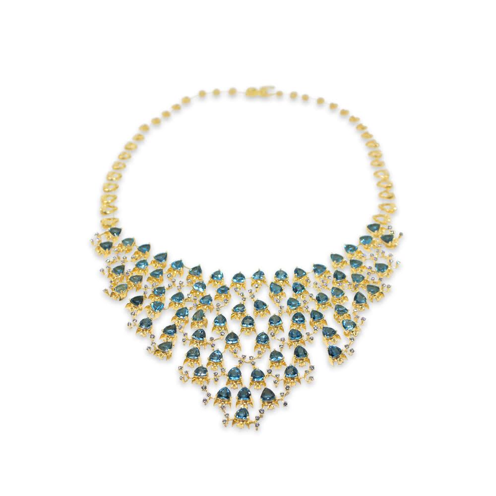 Fish Necklace by Lisa Lesunja, Yellow gold 750 18K is with 73 Trillion cut Swiss Blue Topaz 71.19ct. and 126 white Brilliants 4.2ct. (7577)