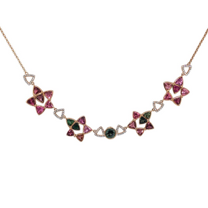 Seastars Necklace by Lisa Lesunja, Rosé Gold 750 18K with 1 Green Brilliant Cut Tourmaline 0.17ct. 21 Pink Trillion Cut Tourmaline 12ct. and 90 White Brilliants 0.18ct. (7558)