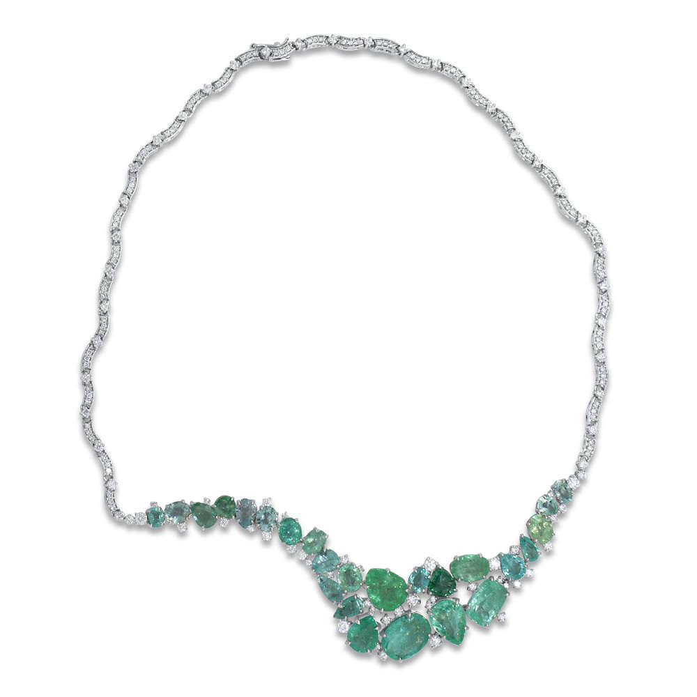 Waves Necklace by Lisa Lesunja, White Gold 750 18K with 25 Paraiba Tourmaline 28.4ct. and 207 White Brilliants 4.98ct. (7521)