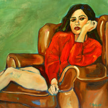Delphine in Red by Cristina Barr, Oil on Canvas