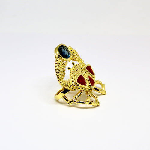 Crab Ring by Lisa Lesunja, Silver 925 Gold Plated 3 Fireopals and a Blue Topas (7593)