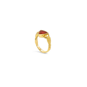 Crabs Ring by Lisa Lesunja, Yellow Gold 750 18K Polish with 1 Trillion Cut Fire Opal 1.27ct. (7556)
