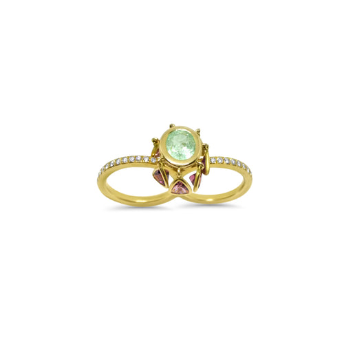 Shells Ring by Lisa Lesunja, Yellow gold 750 18K with 1 Brilliant Cut Paraiba Tourmaline 2.96ct., 7 Pink Trillion Cut Tourmaline 1.58ct. and 54 Brilliants 0.63ct. (7475)