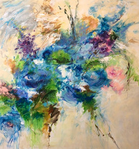 """Anniversary Flowers"" by Karen H. Salup, Mixed Media on Canvas"