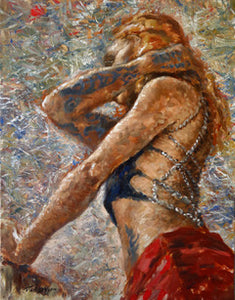 Tattooed Girl by Tal Dvir, Oil on Canvas