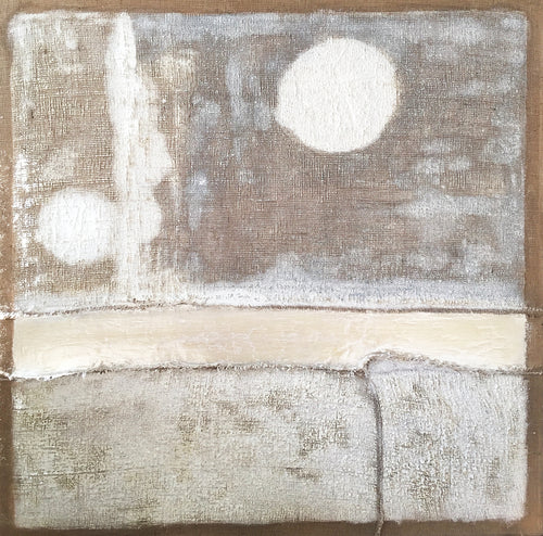 East River Moonrise, Eduardo Terranova, Plaster Extruded and hand stitching on Burlap