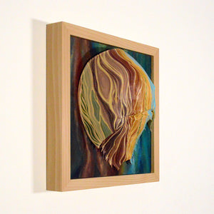 Tidal #7 (Shore Series) by Giselle Simons, Oil Paint on Natural Horseshoe Crab Shell mounted on Wood Panel