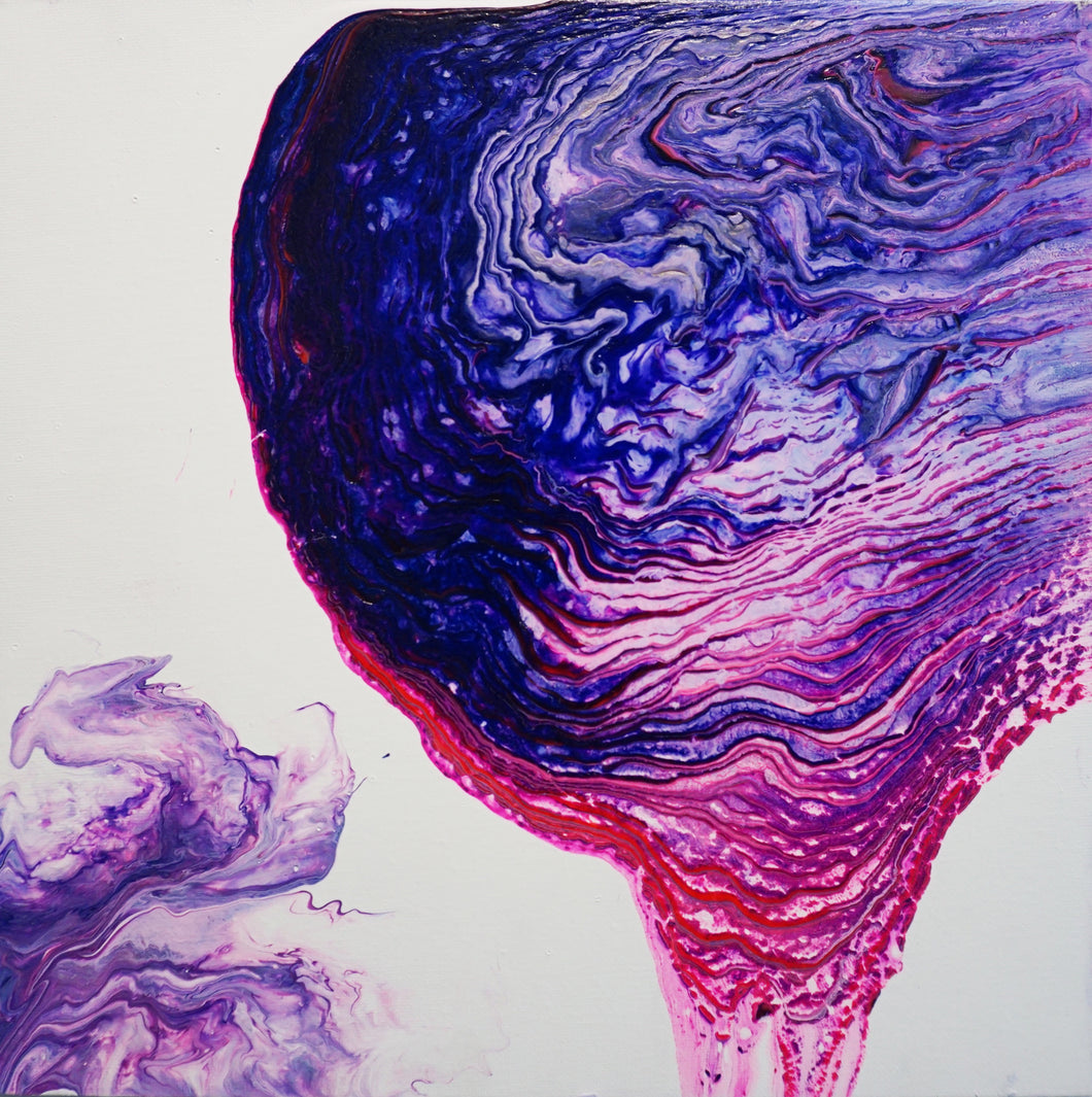 Bleeding Amethyst by Umaima Hashim, Fluid Acrylics on Canvas