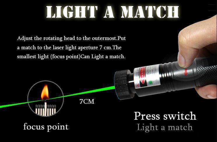 High Power Adjustable Zoomable Focus Burning Green Laser!