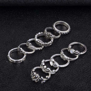 11 Piece Silver Stack Bohemian Above Knuckle Rings