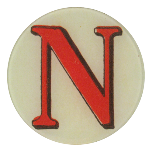 "Red Letter N, 5 3/4"" Round Plate"