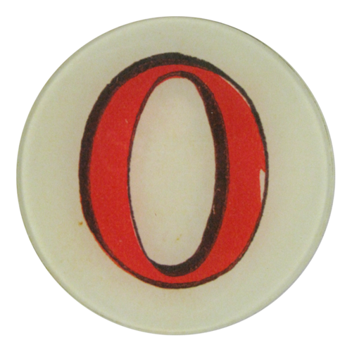 "Red Letter O, 5 3/4"" Round Plate"