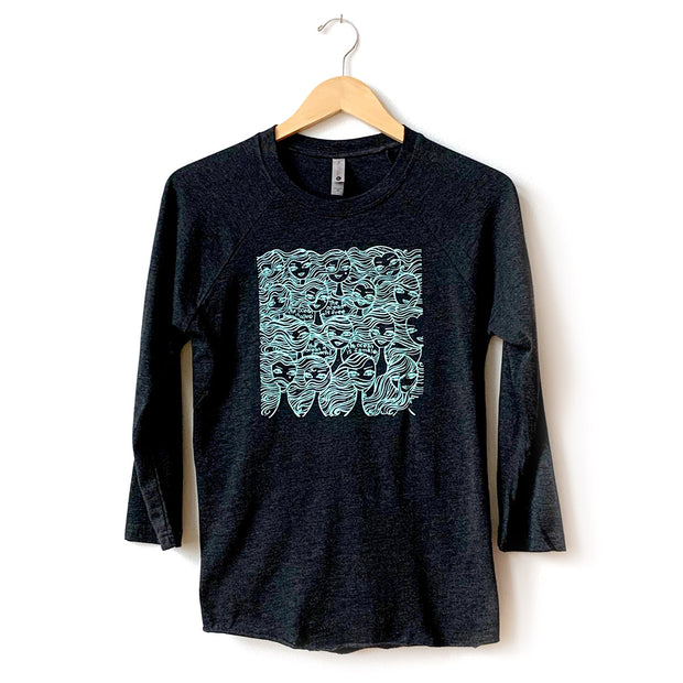 Ode to the Ocean 3/4 Sleeve Raglan T-Shirt, Jeffrey Fulvimari