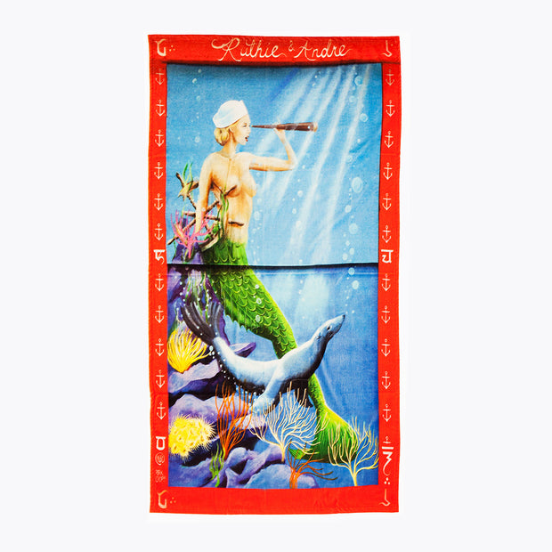 'Ruthie and Andre'  Beach Towel, Porkchop