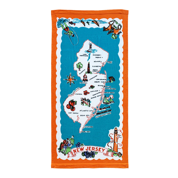 Retro New Jersey (Map) Beach Towel