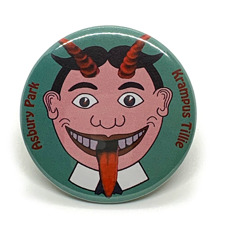 "Krampus Tillie 2 1/4"" Button Pin"