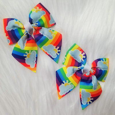 3.5 inch Rainbow Cheer Bows - Wish Upon a Boutique