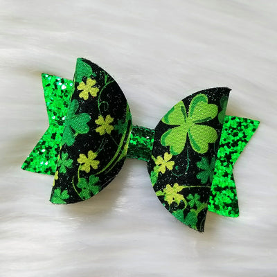 3.5 in. Green Glitter Clover Bow - Wish Upon a Boutique