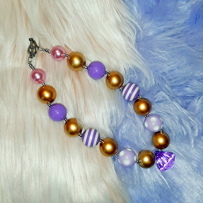 Gold and Purple Jewel Bubblegum Necklace - Wish Upon a Boutique