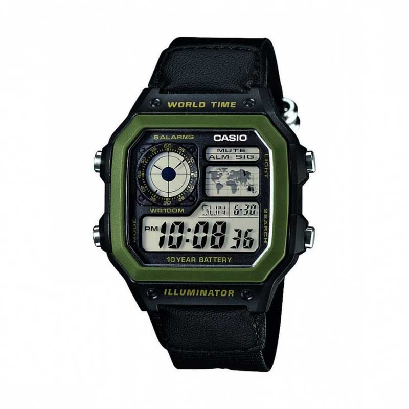 Reloj Vintage Casio World Time Royale AE-1200WHB-1BVDF Digital Resina Verde