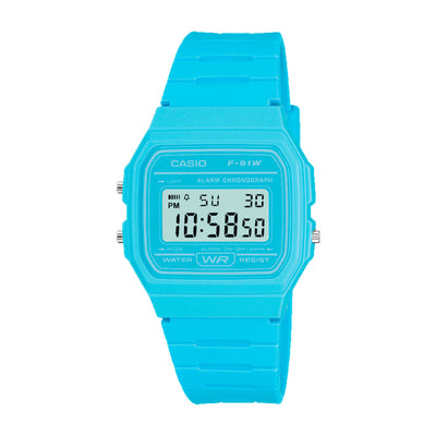 Reloj Casio Vintage F-91WC-2AEF Celeste Digital [EXCLUSIVO]