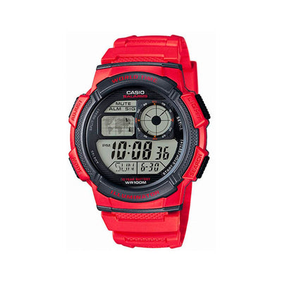 Reloj Vintage Casio World Time AE1000WH-4AVDF Digital Resina Rojo