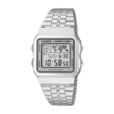 Reloj World Time Casio Vintage A500WA-7DF Plateado Full