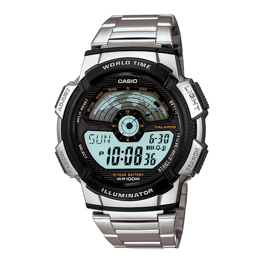 Reloj World Time Royale Casio Vintage AE-1100WD-1AVDF Plateado