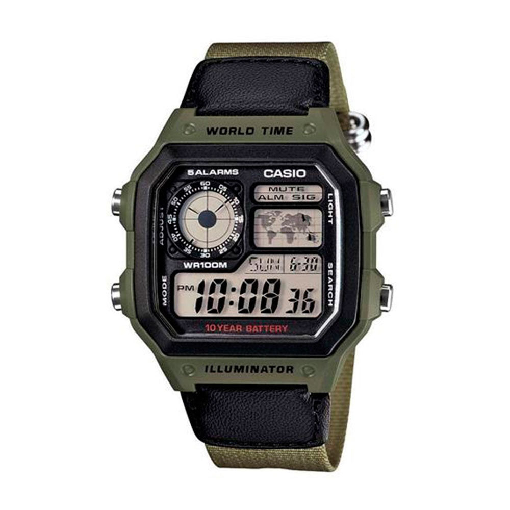 Reloj World Time Royale Casio Vintage AE-1200WHB-3BVDF Correa Verde