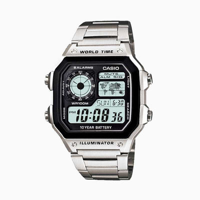 Reloj Vintage Casio World Time Royale AE-1200WHD-1AVDF Digital Metálico Plateado
