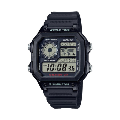 Reloj Vintage Casio World Time Royale AE1200WH-1AVDF Digital Resina Negro