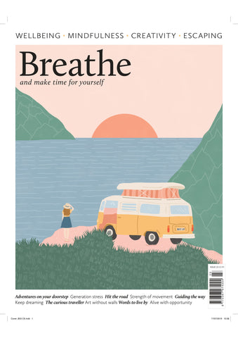 Cover of breathe magazine issue 23 with a campervan and lake