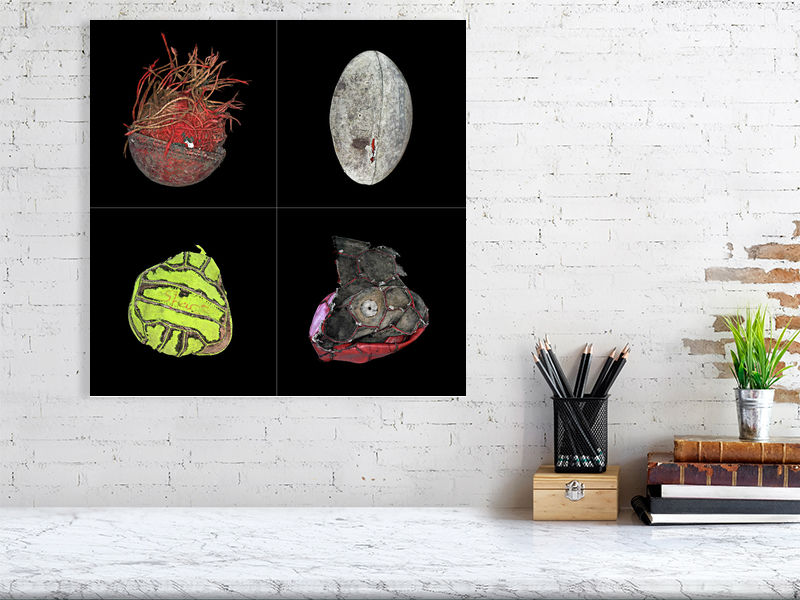 Collage of four sports balls on black background print above desk