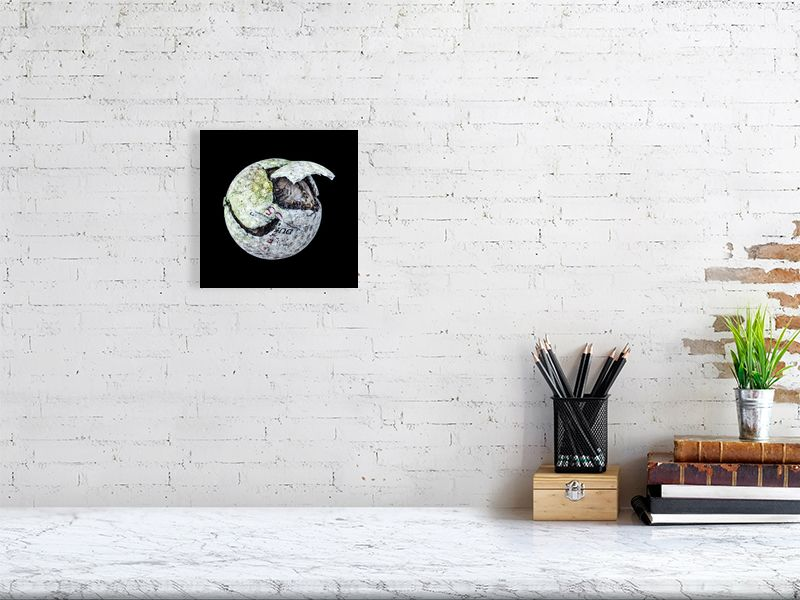 White chipped golf ball on black background print above desk