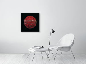 Open image in slideshow, Red cricket ball on black background print on living room wall