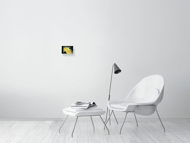 Small yellow crazy golf print on living room wall