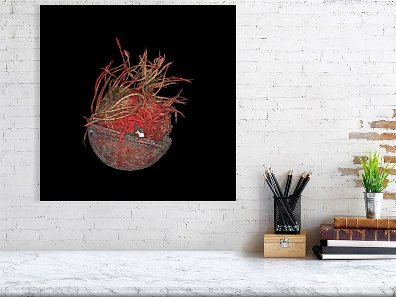 Large unravelled cricket ball on black background print above desk