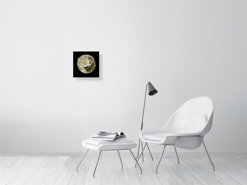 White tattered football on black background print on living room wall
