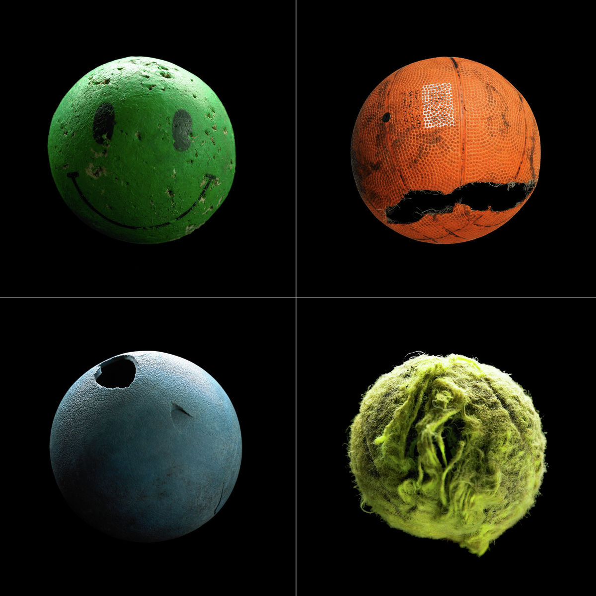 Collage of four sports balls on black background print
