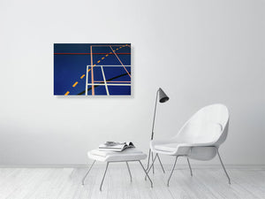 Open image in slideshow, Blue sports hall print with multi-coloured lines on living room wall