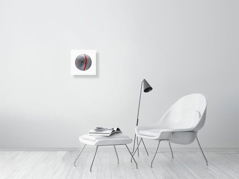 White golf ball with red stripe on white background print on living room wall