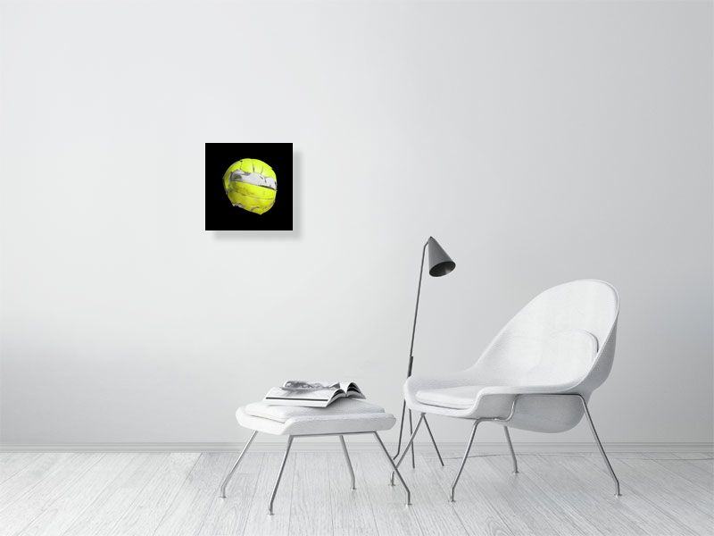 Yellow floorball on black background print on living room wall