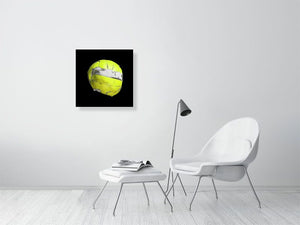 Open image in slideshow, Yellow floorball on black background print on living room wall